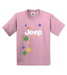 Jeep Girls T-shirt (Jeep logo & daisies on Pink)