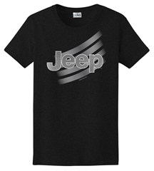 Jeep Logo, Women's T-Shirt, Black, Metallic Silver