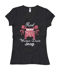 Real Women Drive Jeep, V-Neck Shirt, Black
