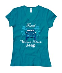 Real Women Drive Jeep, Blue Junior Cut V-Neck Tee
