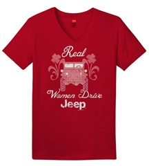 Real Women Drive Jeep, Red  Women's V-Neck Tee