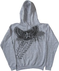 "Jeep Hooded Sweatshirt ""Rock -N- Roll Jeep Style"" Grey Fleece"