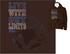 Jeep Hooded Brown Zippered Sweatshirt, Live Without Limits