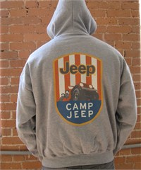 Jeep Zip-Up Grey Hooded Sweatshirt - Camp Jeep Logo (front & back)