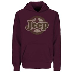 Traditional Jeep Star Sweatshirt, Adult Hoodie, Burgundy