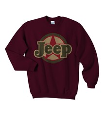 Traditional Jeep Star Sweatshirt, Kid's Crewneck, Burgundy