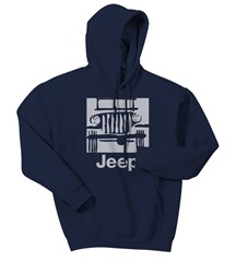 "Jeep Sweatshirt ""Camp Jeep Logo"" Blue Hooded Fleece, Adult"