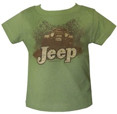 "Short Sleeve ""Jeep in Mud Puddle"" Infant Shirt in Olive or Pink"