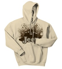 """Mudbogging Jeep"" Men's Fleece Hooded Sweatshirt, Tan"