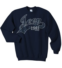 Jeep Crewneck Sweatshirt, Navy, with Collegiate Logo, Adult