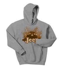 Mudbogging Jeep Youth Fleece Hooded Sweatshirt, Grey