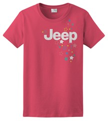 Women's Jeep Logo & Stars Red Short Sleeve Shirt, Juniors Cut