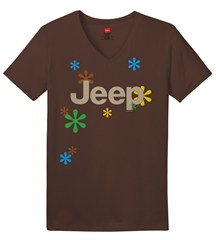 """Jeep & Daisies"" Brown V-Neck Short Sleeved Shirt for Women"