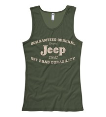 "Jeep Girls ""Guaranteed Original"" Olive Green Tanktop"