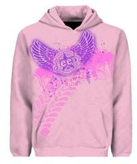 Pink Jeep Hoodie Sweatshirt,  Rock & Roll Wings & Tracks