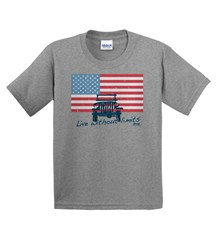 "Jeep ""American Flag / Live without Limits"" YOUTH  Grey T-Shirt"