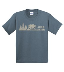 "Jeep ""Live without limits / Bear & Pines"" Youth Tee, Blue"