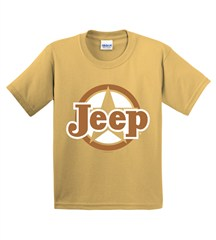 CLOSEOUT (Large & XL) - Classic Jeep Star Light Gold Youth Short Sleeve Shirt