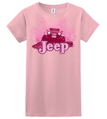 Mud Bogging / Mud Flying Jeep  Pink Girls Tee Shirt, YOUTH