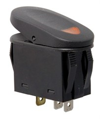 2 Position Rocker Switch-Black w/Amber Indicator Light,Universal