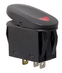 Rugged Ridge Rocker Switch, Two Position, Black with Red Indicator Light, Universal