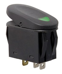 2 Position Rocker Switch-Black w/Green Indicator Light,Universal