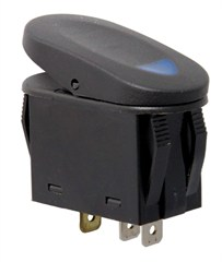 Rocker Switch, 2 Position - Black with Blue Indicator Light
