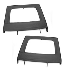 Upper Soft Door Pair Wrangler JK 4D 2007-2017 Rear Black Rugged Ridge