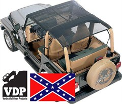 KoolBreez Sun Screen Jeep Full-Length Summer Top - Confederate Flag