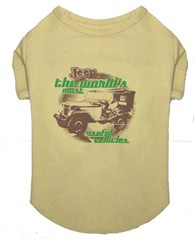 CLOSEOUT (XS only) Jeep Tee for Dog - Tan Shirt w/Old Willys Jeep