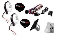 Stainless Windshield Light Mount Kit w/100W fog lights - Jeep JK