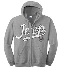 Women's Grey Jeep Zippered Hooded Sweatshirt