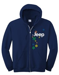 Zippered Hoodie, Jeep and Daisies, Women's, Navy Blue