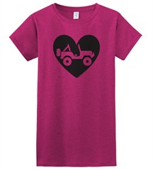 """Heart Wrangler"" Juniors Short Sleeved Shirt in Fuschia"