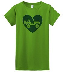 """Heart Wrangler"" Juniors Short Sleeved Shirt in Green"