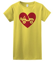 """Heart Wrangler"" Juniors Short Sleeved Shirt in Yellow"