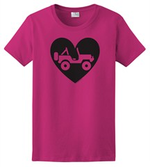 """Heart Wrangler"" Womens Short Sleeved Shirt in Hot Pink"