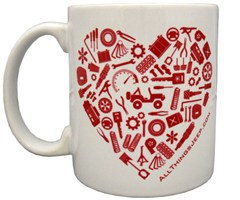 """You Make My Heart Rev!"" Red and White Valentine's Day Coffee Mug"