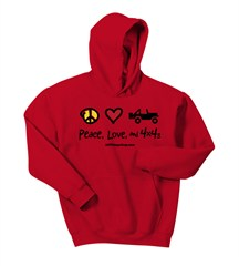 Kid's Hoodie - Peace, Love & 4x4's Sweatshirt (Multiple Colors)