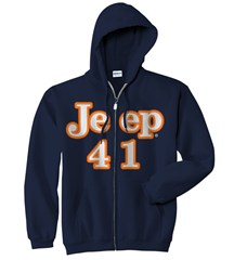 "Navy Blue ""Jeep 41"" Zippered Hooded Sweatshirt"